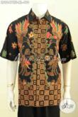 Baju Batik Pria Dewasa, Pakaian Batik Elegan Modis Desain Terbaru Motif Kekinian Proses Tulis Soga, Model Lengan Pendek Full Furing 400 Ribuan [LD9647TSF-XL]