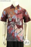 Pakaian Batik Modis, Hem Lengan Pendek Keren, Baju Batik Kerja Dan Acara Resmi Motif Bagus Proses Tulis Model Lengan Pendek Pakai Furing 455K [LD9652TF-M]
