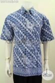 Juragan Baju Batik Solo Online, Jual Hem Kerja Pria Dewasa Size XL Warna Biru Proses Cap Motif Bagus, Modis Juga Untuk Jalan-Jalan [LD9716C-XL]
