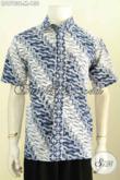 Produk Batik Baju Kerja Terkini, Pakaian Batik Istimewa Motif Klasik Proses Cap Lengan Pendek, Penampilan Lebih Gagah [LD9793C-M]