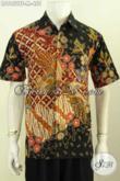 Sedia Kemeja Batik Mewah Solo, Pakaian Batik Kerja Kantoran Pria Muda Model Lengan Pendek Full Furing Motif Terkini Proses Tulis, Tampil Lebih Sempurna [LD9852TF-M]
