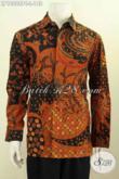 Baju Batik Pria Elegan, Hem Lengan Panjang Klasik Proses Printing Colet Kwalitas Bagus Asli Buatan Solo, Pas Buat Kondangan [LP10088PC-L]