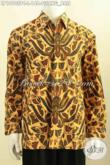 Sedia Kemeja Kerja Bahan Batik Model Lengan Panjang, Pakaian Batik Solo Halus Bahan Adem Proses Print Colet Motif Pisang Bali, Elagan Buat Kondangan [LP10105PC-L]