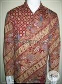 Kemeja Batik Lengan Panjang Pria Bahan Doby Warna Merah Elegan [LP1010BTD-L]