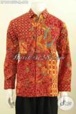 Model Baju Batik Elegan Pria Warna Merah Nan Mewah, Produk Kemeja Batik Solo Premium Full Furing Motif Terkini Proses Tulis, Di Jual Online 610 Ribu [LP10195TF-M]