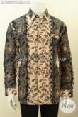 Model Baju Batik Pria Lengan Panjang Motif Mewah, Kemeja Batik Printing Cabut Bahan Adem Kwalitas Istimewa, Pria Tampil Mempesona [LP10359PB-XL]