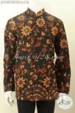 Model Baju Kemeja Batik Pria Ukuran L, Hem Batik Solo Jawa Tengah Nan Mewah Desain Krah Shanghai, Pakaian Batik Formal Untuk Tampil Berwibawa [LP10370PBK-L]
