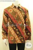 Batik Kemeja Pria Lengan Panjang Size L, Busana Batik Elegan Full Furing Motif Klasik Proses Cap Tulis, Cocok Banget Untuk Acara Resmi [LP10645CTRFMH-L]