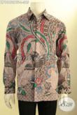 Baju Kemeja Batik Solo Kwalitas Premium Harga Minimum, Busana Batik Halus Lengan Panjang Full Furing Bahan Adem Motif Klasik Proses Kombinasi Tulis, Bikin Pria Gagah Berwibawa [LP10950BTF-L]