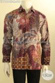 Kemeja Batik Premium Nan Mewah, Busana Batik Elegan Berkelas Untuk Eksekutif Muda Tampil Gagah Menawan, Bahan Adem Model Lengan Panjang Full Furing Motif Tulis Asli [LP11084TF-M]