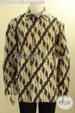 Busana Batik ELegan Lengan Panjang Formal Motif Parang Proses Printing Cabut, Pakaian Batik Kerja Dan Rapat Untuk Pria Gemuk Hanya 100 Ribuan [LP11146PB-XXL]