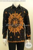 Hem Batik Halus Lengan Panjang Full Furing Mewah, Busana Batik Printing Motif Perisai Kuning Untuk Kerja Dan Acara Santai [LP11281BTF-M , L]