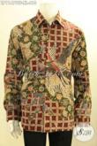 Busana Batik Kerja Nan Mewah Pria Sukses, Baju Batik Premium Solo Berkelas Model Lengan Panjang Full Furing, Tampil Gagah Dan Elegan Bak Pejabat [LP11479TF-XL]