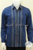 Baju Tenun Warna Biru, Hem Tenun Pejabat, Pengusaha Dan Pimpinan Partai [LP1422NF-M]