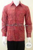 Baju Batik Laki-Laki Lengan Panjang Warna Merah Keren, Batik Cap Solo Modern [LP1941CS-M]