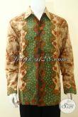 Hem Batik Klasik Proses Tulis Buatan Solo Asli, Baju Batik Lengan Panjang Keren Lebih Mewah Dengan Daleman Full Furing [LP3639TF-XXL]