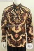 Baju Batik Kemeja Lengan Panjang Mewah, Busana Batik Halus Proses Tulis Soga Di Lengkapi Daleman Full Furing Harga 600K Size XXL [LP6267TSF-XL]