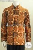 Jual Baju Batik Formal Untuk Pria, Hem Batik Istimewa Lengan Panjang Pake Furing Motif Bagus Kombinasi Tulis Harga 290K Pas Buat Kerja [LP6859BTF-L , XXL]