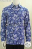Kemeja Batik Warna Biru, Berbahan Halus Lengan Panjang Motif Terkini, Baju Batik Cap Buatan Solo Berkelas Harga Murah [LP6995C-L]