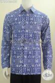 Hem Batik Solo Warna Biru Motif Keren Model Lengan Panjang, Pakaian Batik Pria Muda Dan Dewasa Untuk Tampil Istimewa [LP6999C-L]