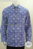 Kemeja Batik Warna Biru 4L, Hem Batik Elegan Desain Keren Berbahan Halus Proses Cap Model Lengan Panjang eksklusif Baut Lelaki Gemuk Sekali [LP7007C-XXXL]