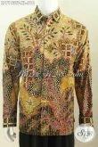 Baju Batik Kerja Bagus Dan Mewah, Pakaian Batik Premium Khas Pejabat Bahan Halus Motif Tull Tulis Lengan Panjang Daleman Di Lengkapi Furing Berkesan Eksklusif [LP7193TF-XL]