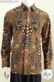 Jual Online Pakaian Batik Premium, Baju Batik Lengan Panjang Mewah Motif Klasik Full Tulis Warna Soga Untuk Pria Terlihat Istimewa [LP7320TSF-L]