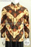 Jual Kemeja Batik Lengan Panjang Mewah Mahal, Pakaian Batik Full Furing Elegan Halus Proses Tulis Soga Untuk Cowok Tampil Lebih Berkelas [LP7322TSF-M]