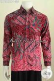 Baju Batik Merah Lengan Panjang Motif Mewah, Pakaian Bati Full Furing Bahan Adem Proses Kombinasi Tulis Harga 305K, Pas Buat Rapat [LP7684BTF-S]