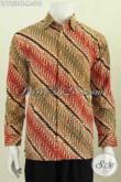 Baju Batik Elegan Lengan Panjang, Pakaian Batik Modis Trend Masa Kini Motif Klasik Proses Cap Tulis Buatan Solo [LP7852CT-M]