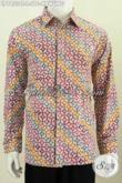Batik Hem Halus Motif Kawung Dengan Kombinasi Warna Trendy Bahan Halus Proses Cap Tulis Ukuran M Model Lengan Panjang [LP7853CT-L]