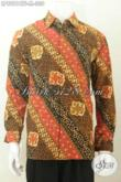 Batik Hem Mewah Lengan Panjang, Baju Batik Cap Tulis Motif Klasik Full Furing, Bisa Untuk Kerja Maupun Kondangan [LP8981CTF-M]