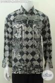 Batik Hem Elegan Lengan Panjang, Pakaian Batik Motif Wayang Abstrak Kwalitas Istimewa Proses Tulis Daleman Full Furing [LP9038TF-M]