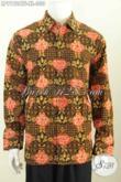Produk Baju Batik Solo Elegan Lengan Panjang Mewah Halus Full Furing Motif Klasik Cap Tulis, Pria Dewasa Tampil Gagah Berwibawa [LP9192CTF-XL]