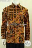 Hem Batik Kerja Nan Elegan, Pakaian Batik Halus Mewah Model Lengan Panjang Pakai Furing, Tampil Ganteng Mempesona [LP9805TF-L]