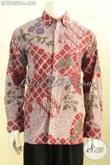 Batik Hem Merah Lengan Panjang Motif Mewah Tulis Asli, Pakaian Batik Berkelas Untuk Kerja Dan Acara Formal Nan Premium Harga 610K [LP9993TF-L]